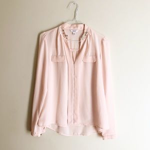 Blush pink long sleeve blouse